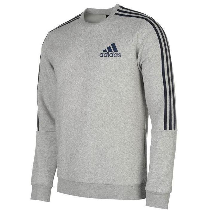 Adidas 3 Stripes Crew, bluza męska, szara, Rozmiar XL