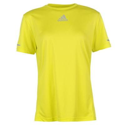 Żółta koszulka damska z okrągłym dekoltem i małym logo Adidas - Rozmiar XL