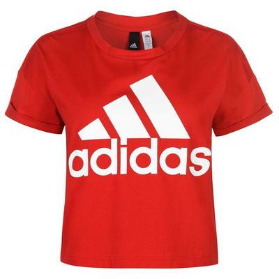 Adidas Logo Crop koszulka damska, czerwona, Rozmiar XS