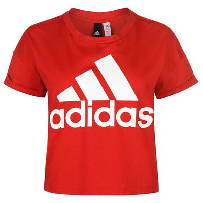 Adidas Logo Crop koszulka damska, czerwona, Rozmiar S