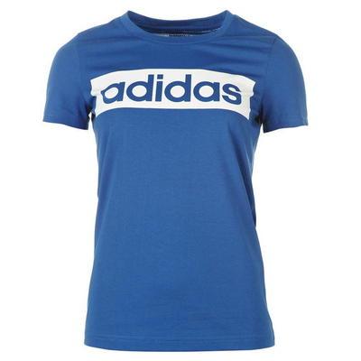Niebieska koszulka damska sportowa z okrągłym dekoltem z napisem Adidas - rozmiar M
