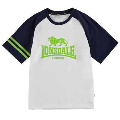 Lonsdale Logo Raglan koszulka dla chłopców, biała, Rozmiar 7-8 lat