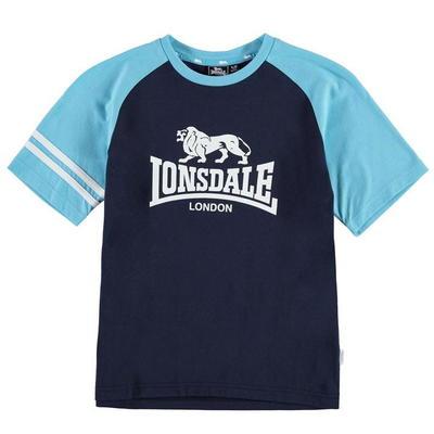 Lonsdale Logo Raglan koszulka dla chłopców, granatowa, Rozmiar 9-10 lat