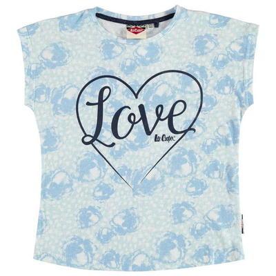 Lee Cooper koszulka dla dziewczynek, biało niebieska, Rozmiar 9-10 lat