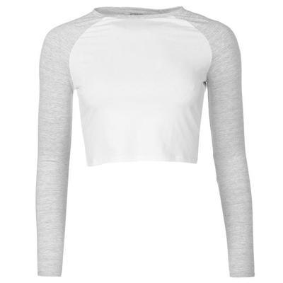 Miso Long Sleeve Crop Top damski, biało szara, Rozmiar XL