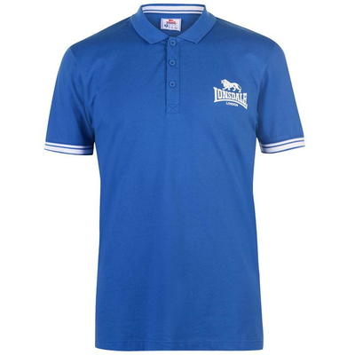 Lonsdale 2 Stripe Jersey, koszulka męska polo, niebieska, Rozmiar S