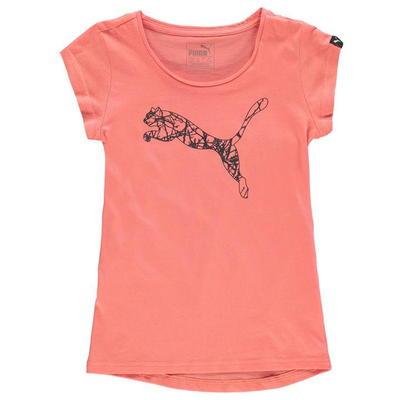 Puma Cat Logo, koszulka dla dziewczynki, różowa, Rozmiar 11-12 lat