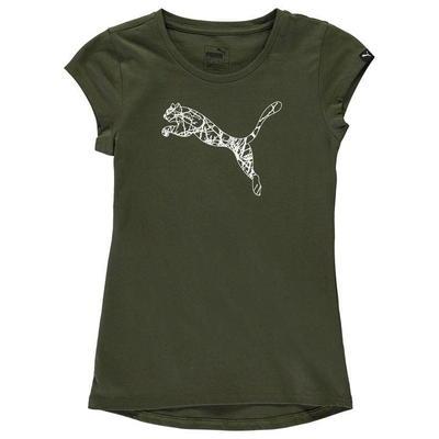 Puma Cat Logo, koszulka dla dziewczynki, zielona, Rozmiar 11-12 lat