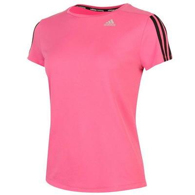 Klasyczny różowy t-shirt z okrągłym dekoltem z małym logo Adidas i czarnymi paskami na ramionach - rozmiar L