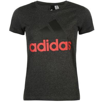 Ciemnoszara koszulka damska z czerwonym napisem Adidas i czarnym logo - rozmiar L