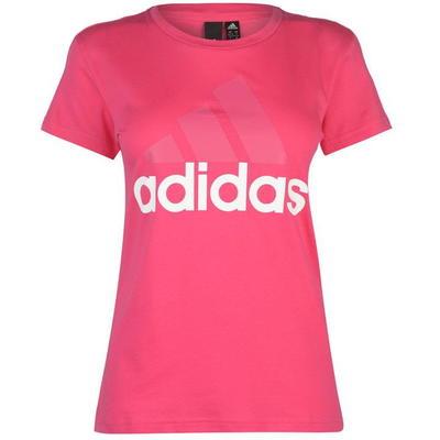 Różówa koszulka damska z klasycznym dekoltem z dużym białym napisem Adidas - rozmiar L