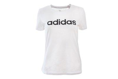 Klasyczny biały t-shirt damski z dużym czarnym napisem Adidas - rozmiar S