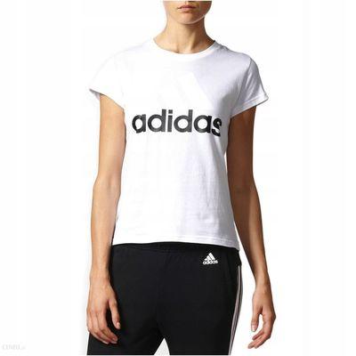 Biała koszulka damska z czarnym napisem Adidas - Rozmiar L