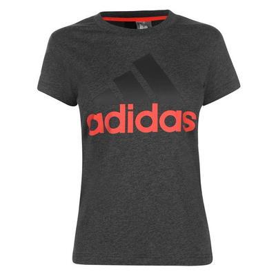 Adidas Linear QT, koszulka damska, ciemno szara / coral, Rozmiar XL