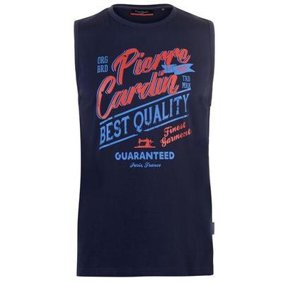 Pierre Cardin Graphic, koszulka męska bez rekawów, granatowa, Rozmiar  S