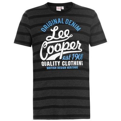 Lee Cooper Logo, koszulka męska, czarna, Rozmiar M