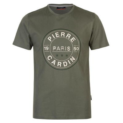 Pierre Cardin Print, koszulka męska, oliwkowa, Rozmiar M