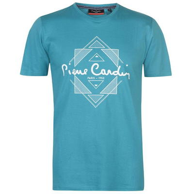 Pierre Cardin Print, koszulka męska, jasna turkusowa, Rozmiar S