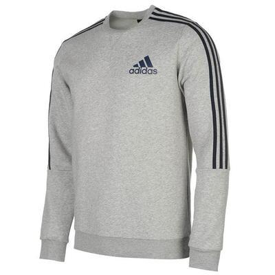 Adidas 3 Stripes Crew, bluza męska, szara, Rozmiar M