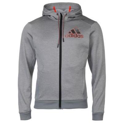 Adidas, bluza z kapturem, na zamek, szara, Rozmiar S
