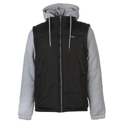 Lee Cooper Sweater Sleeve, kurtka męska z kapturem na zamek, czarno szara, Rozmiar S