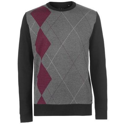 Pierre Cardin Argyle sweter męski, czarno-szary, Rozmiar M