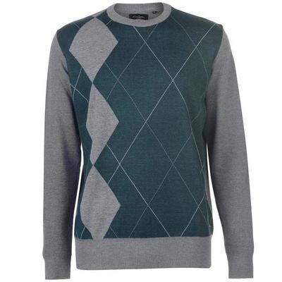Pierre Cardin Argyle sweter męski, szaro-zielony, Rozmiar XL