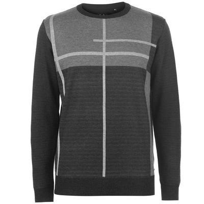 Pierre Cardin Geometric, dzianinowy sweter męski, węgiel drzewny, Rozmiar L