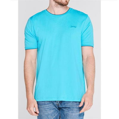 Slazenger Tipped, koszulka męska, niebieska, Rozmiar 3XL