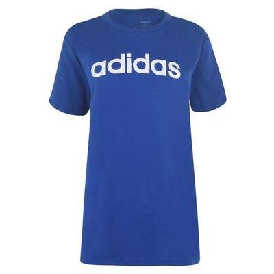 Niebieska koszulka damska z napisem Adidas, dekolt klasyczny - Rozmiar L