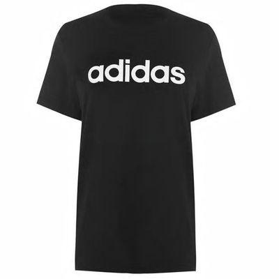 Czarna koszulka damska z napisem Adidas, dekolt klasyczny - rozmiar M