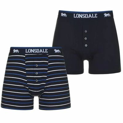 Lonsdale 2 sztuki, bokserki męskie, granatowe / paski, Rozmiar S