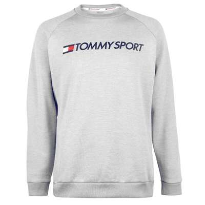 Tommy Sport Logo, sweter męski, szary, Rozmiar M