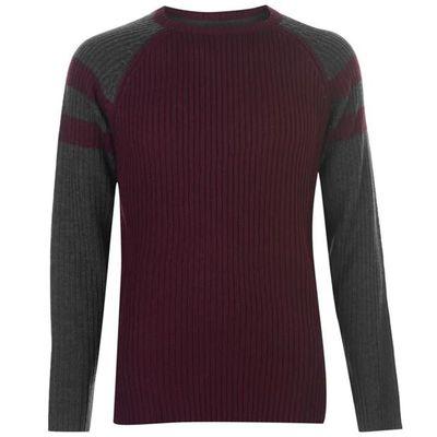 Pierre Cardin Ribbed sweter męski, burgundy, Rozmiar L
