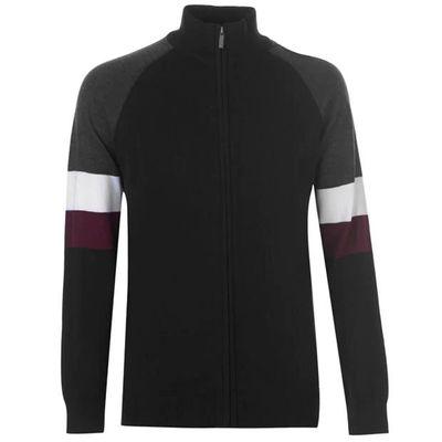 Pierre Cardin Full Zip Cut, sweter męski, czarny, Rozmiar L