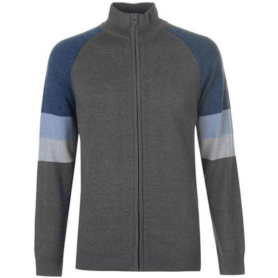 Pierre Cardin Full Zip Cut, sweter męski, szary, Rozmiar XL