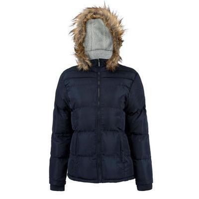 Lee Cooper Faux, kurtka zimowa damska, granatowa, Rozmiar XL