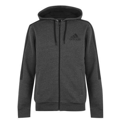 Adidas 3S Flc FZ, bluza z kapturem na zamek, ciemnoszara, Rozmiar M