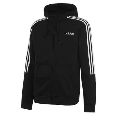 Adidas 3S Flc FZ, bluza z kapturem na zamek, czarne, Rozmiar M