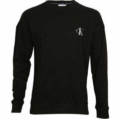 Calvin Klein LS Crew, bluza męska, czarna, Rozmiar XL