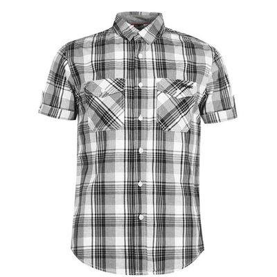Lee Cooper SS, koszula męska w kratę, biało-czarna, Rozmiar L