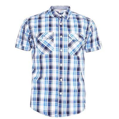 Lee Cooper SS, koszula męska w kratkę, biało-niebieska, Rozmiar M