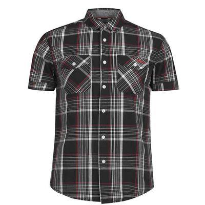Lee Cooper SS, koszula męska, czarna w kratkę, Rozmiar 3XL