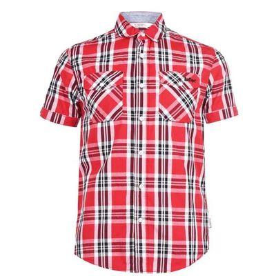 Lee Cooper SS, koszula męska, czerwona w kratkę, Rozmiar XL