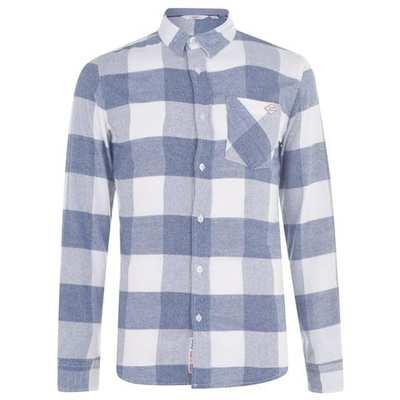 Lee Cooper Sft, koszula męska, kratka biało-niebieska, Rozmiar M