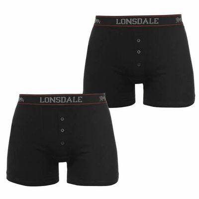 Lonsdale 2 sztuki, bokserki męskie, czarne, Rozmiar 4XL