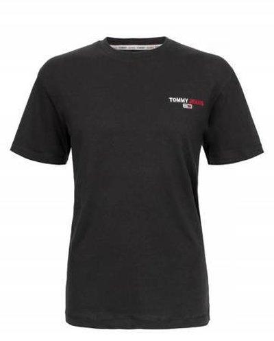Tommy Hilfiger Jeans, T-Shirt męski CZY, czarna, Rozmiar L
