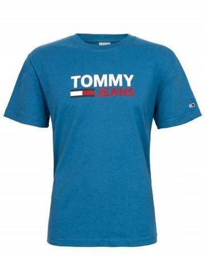 Tommy Hilfiger Jeans, T-Shirt męski 103, niebieska, Rozmiar L