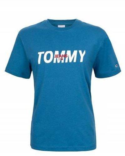 Tommy Hilfiger Jeans, T-Shirt męski 481, niebieska, Rozmiar L