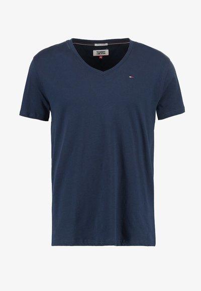 Tommy Hilfiger Jeans, V koszulka męska, granatowa, Rozmiar L